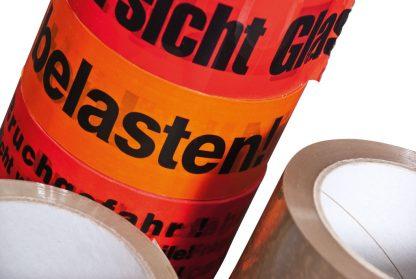 """PP-Klebefilm """"Vorsicht Glas"""" 50mm/66m rot"""